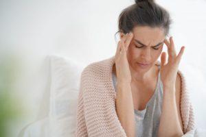 person with a tension headache